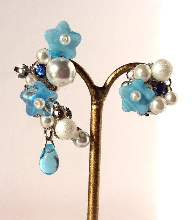 青い小花とパールのイヤーカフセット