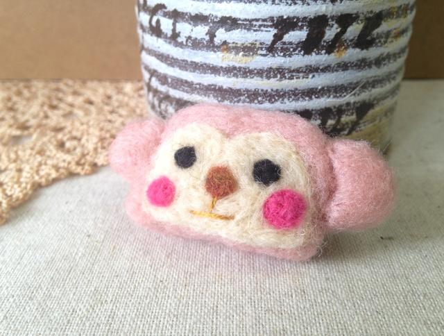 羊毛フェルトブローチ(おさるさんPk)