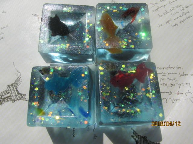 金魚・ゼリーのマグネット 四個セット 和菓子 スイーツデコ