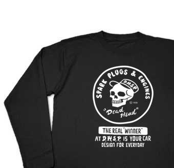 スパークプラグ&骸骨(片面)前A柄 長袖Tシャツ【受注生産品】