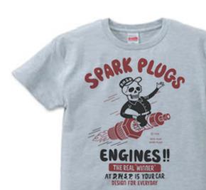 スパークプラグ&骸骨(片面)前B柄 S〜XL  Tシャツ【受注生産品】