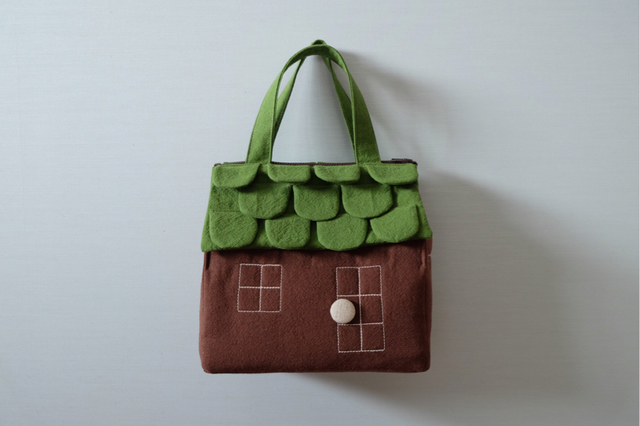 OUCHI box bag M 抹茶色green+brown