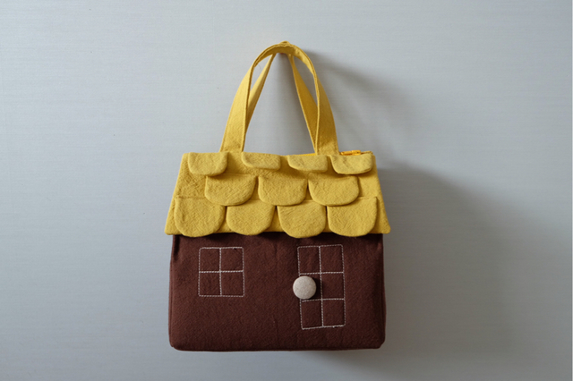 OUCHI box bag M yellow+brown