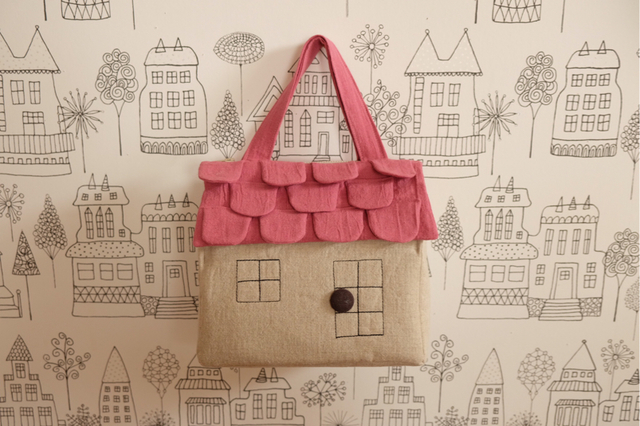 OUCHI box bag M pink+linen
