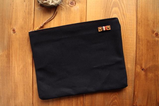H872 帆布シンプルポーチ Lサイズ -ネイビー-