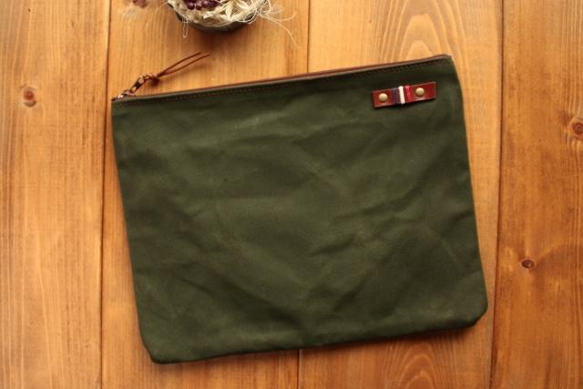 H877 帆布の中ポケット付きポーチ Lサイズ -オールドモスグリーン-