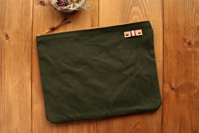 【送料無料】*H878 帆布の中ポケット付きポーチ Lサイズ -オールドモスグリーン-