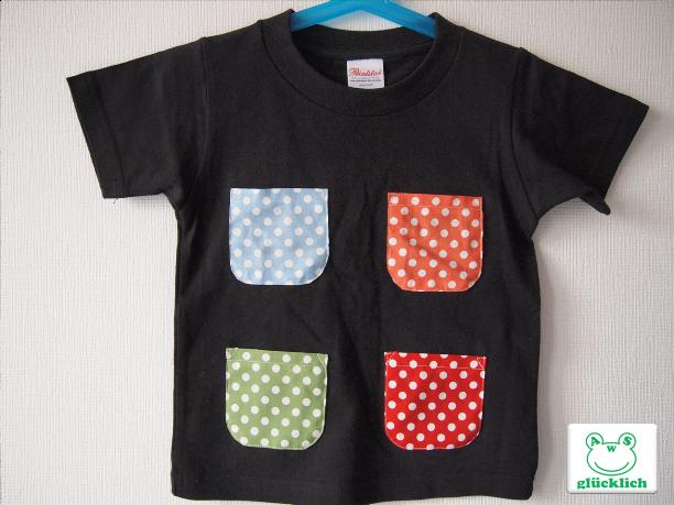 ポケットいっぱいTシャツ/100/黒×水玉