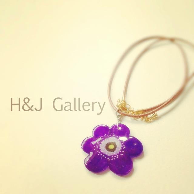 アネモネのネックレス 紫