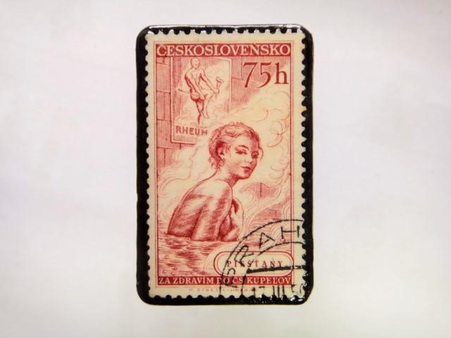 チェコスロバキア 切手ブローチ1050