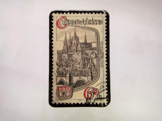 チェコスロバキア 切手ブローチ1053