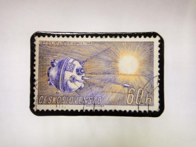 チェコスロバキア 切手ブローチ1055
