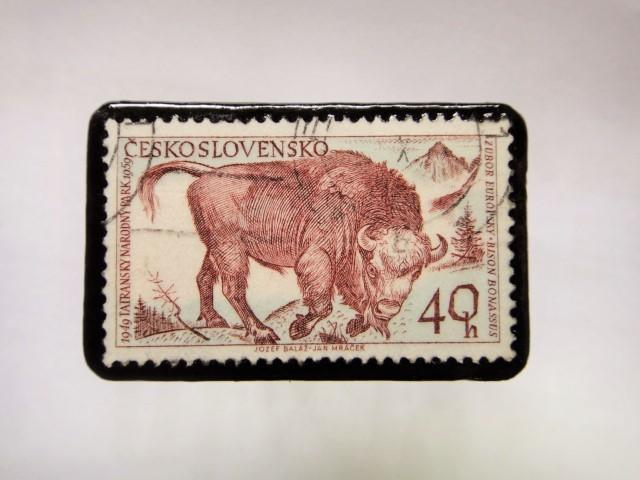 チェコスロバキア 切手ブローチ1057