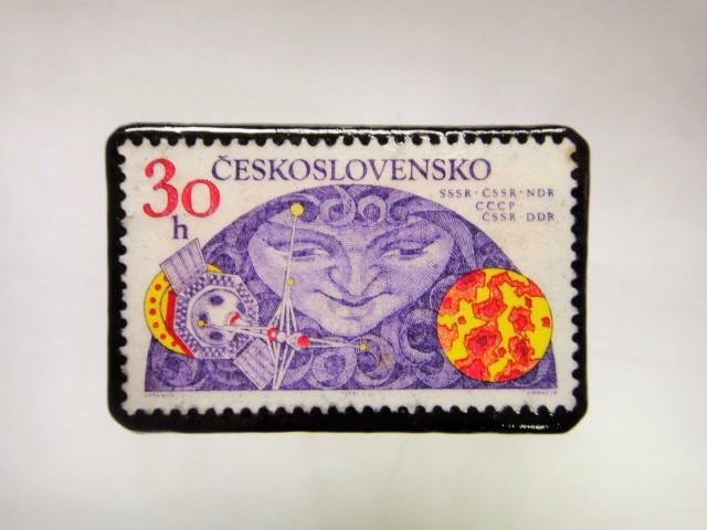 チェコスロバキア 切手ブローチ1060