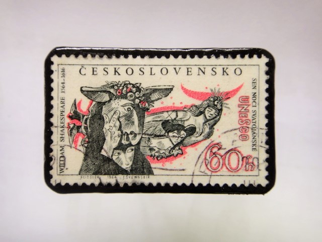 チェコスロバキア 切手ブローチ1062