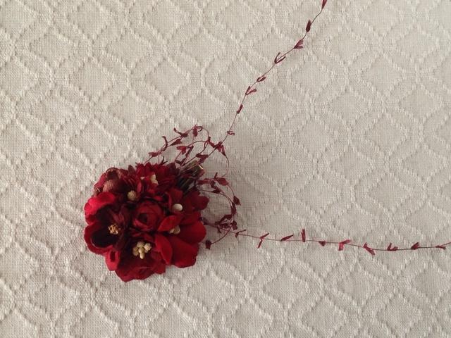染め花のミニクリップ(紅)