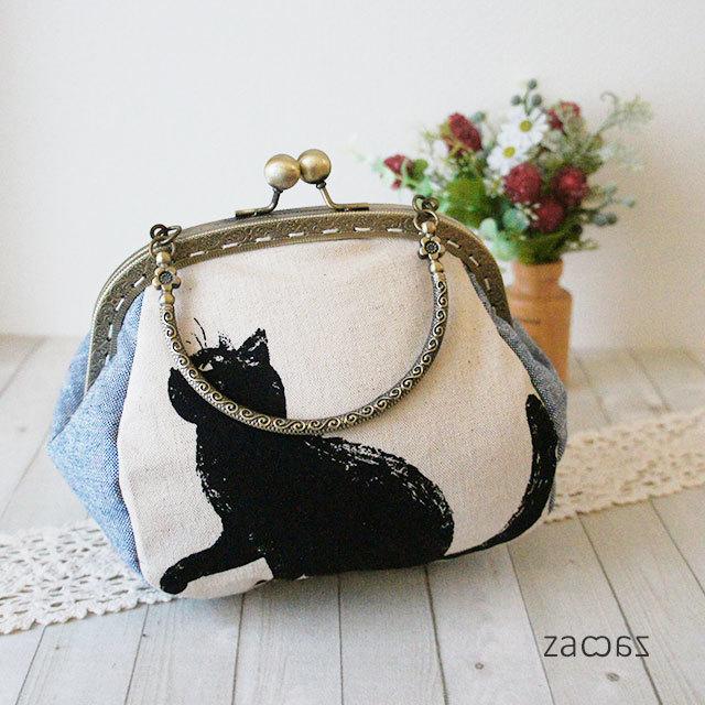 【販売終了】がま口手提げバッグ*気まぐれな黒猫A