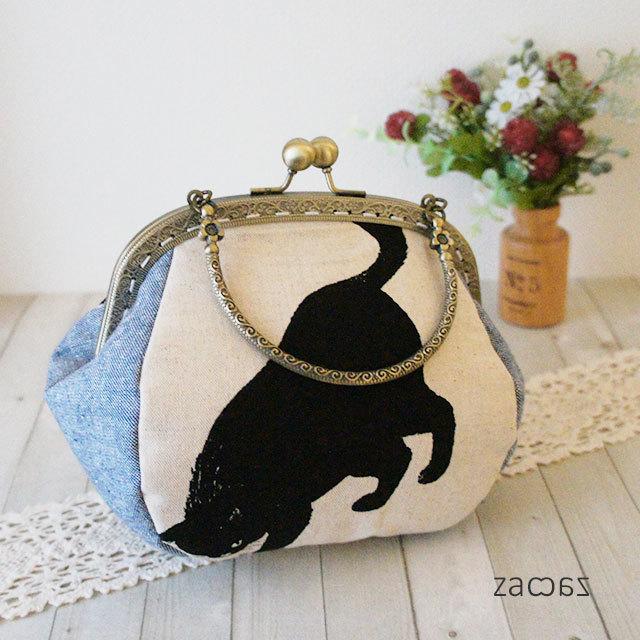【販売終了】がま口手提げバッグ*気まぐれな黒猫C
