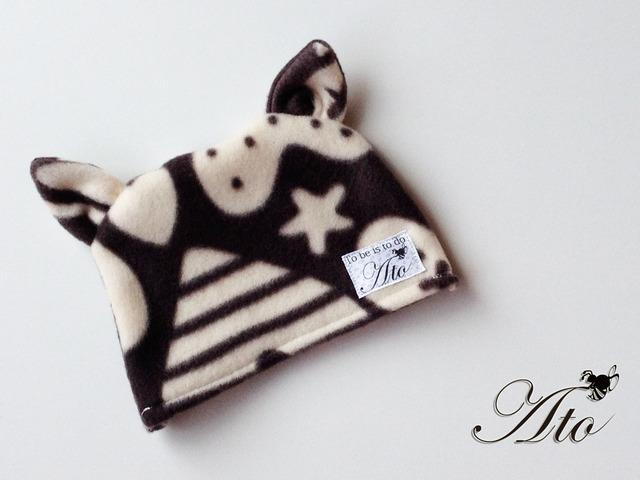 NB〜1才☆くまさん耳のチョコレート色KIDS帽子