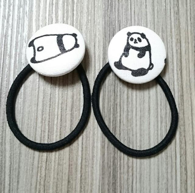 2本セット☆パンダさんのくるみボタンヘアゴム