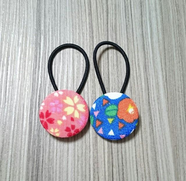 2本セット☆和風くるみボタンのヘアゴム
