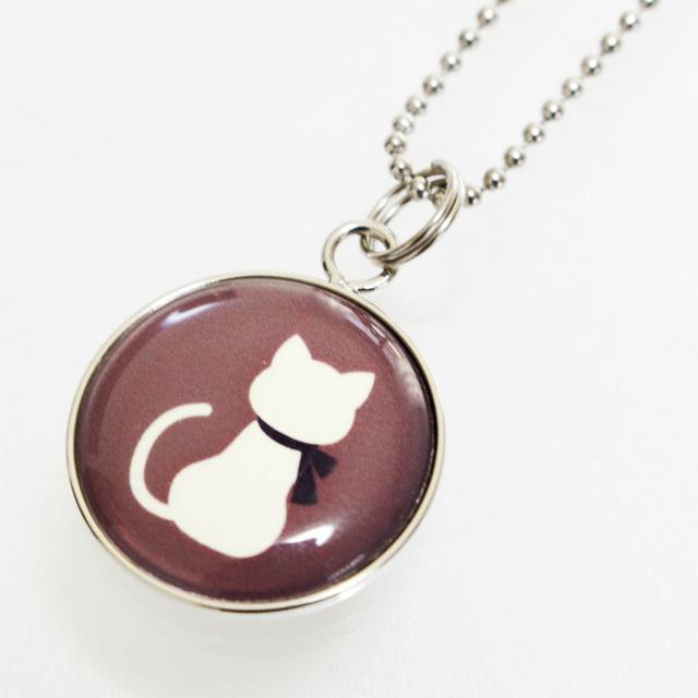 骨壷カバー用 アクセサリーチャーム プレート 猫 チョコレートブラウン ストラップつき 仏具 名札