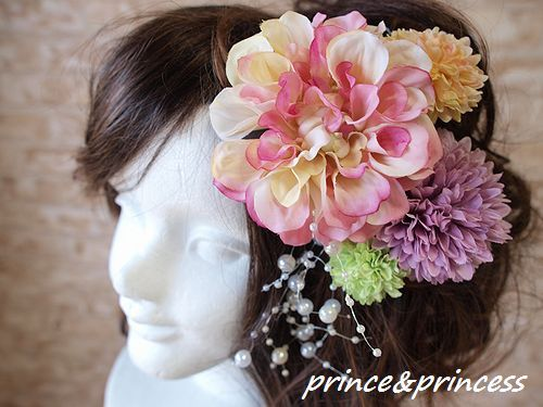 ピンクダリアの髪飾りセット