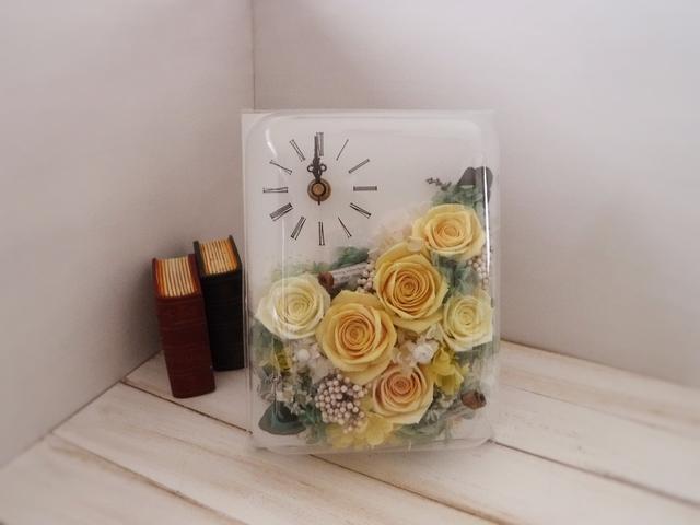 長方形flower時計(イエロー)