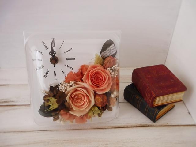 正方形flower時計(オレンジ)