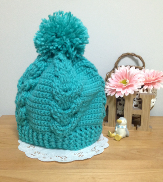 縄編みのニット帽