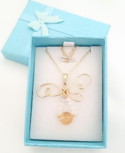 シトリンの天使のネックレス