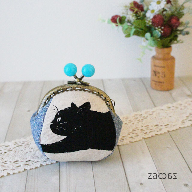 【販売終了】あめ玉がま口コインケース*気まぐれな黒猫