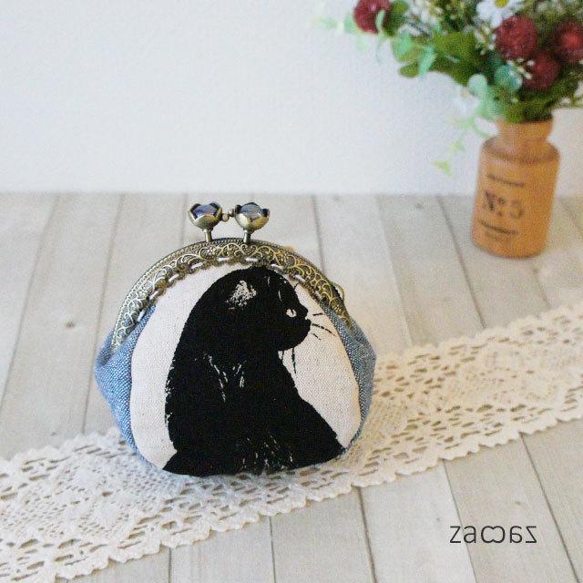 【販売終了】お花がま口コインケース*気まぐれな黒猫
