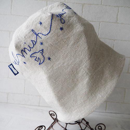 アイリッシュリネンニット生地に刺繍を入れたニット帽(白バード)