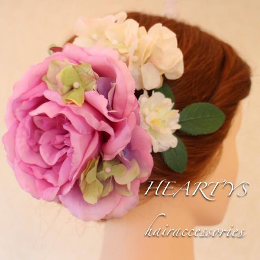 *ピンクダリアと小花達のヘッドドレス♪【送料無料】
