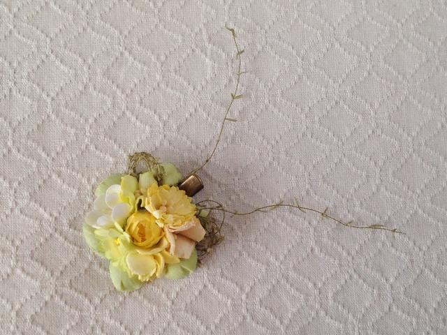 染め花のミニクリップ(イエロー&グリーン)