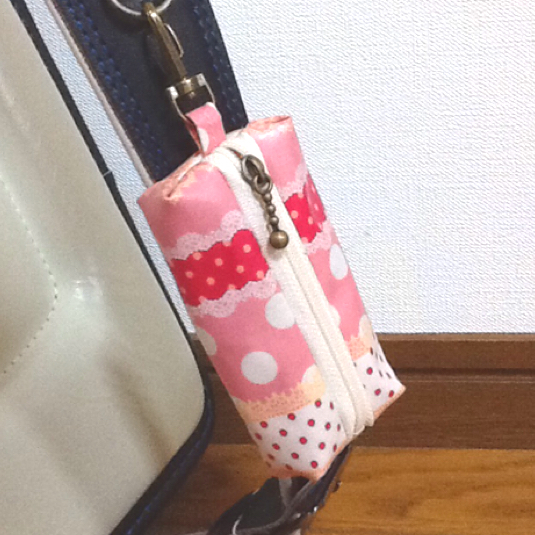 ドットボーダー ピンク☆ランドセル用キーケース リール式