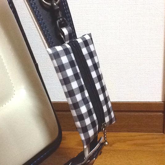 ランドセル用キーケース☆マチなし固定ベルト付き ブラックチェック
