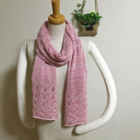 ほんわり透かし編みストール さくら色系ミックス