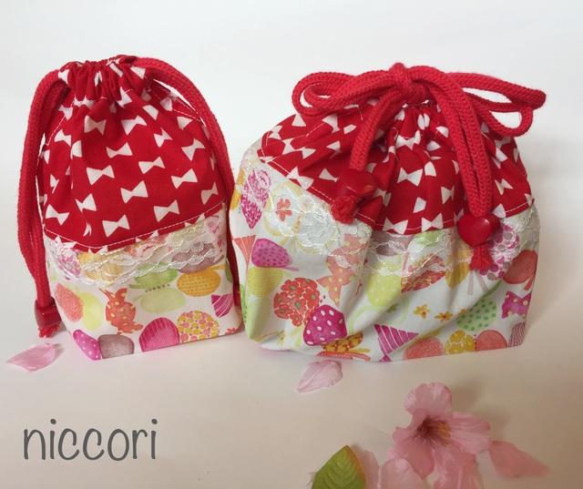 りぼん&ちょうちょ&キャンディのお弁当袋とコップ袋 レッド