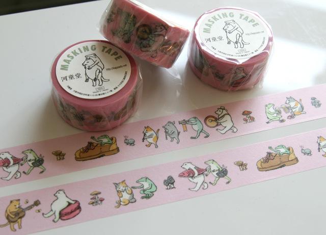 猫カエルマスキングテープ(ピンク)