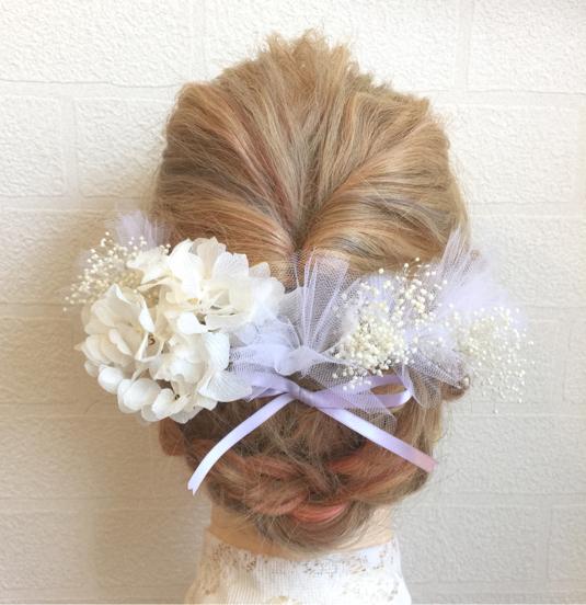 再販×14 ♡ チュール と リボン が可愛い♡ ヘッドドレス 髪飾り ウェディング 結婚式 成人式