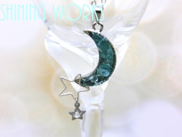 再販10:青い月と星のネックレス〜blue moon〜 天然石 受注生産