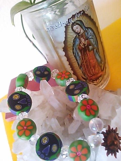 メキシカンのオレンジのお花の お守りブレス