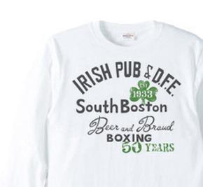 ボストン アイリッシュパブ【片面】 長袖Tシャツ【受注生産品】