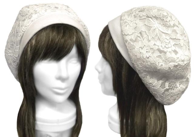 花柄コードレース/リブ付ベレー帽(ゆったり)◆オフ白