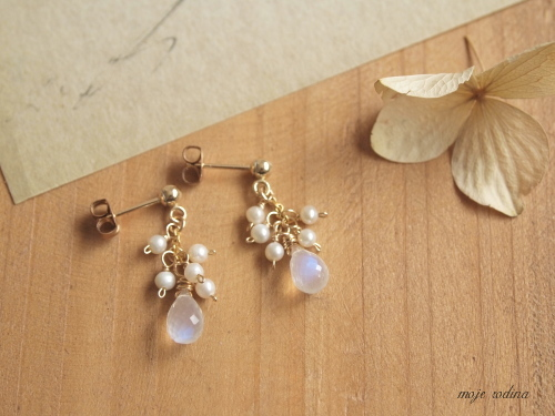 Royal blue moonstone pierce