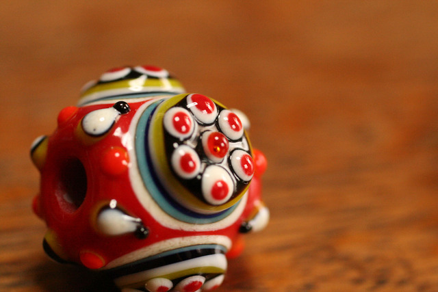 glass beads(とんぼ玉)戦国玉/赤