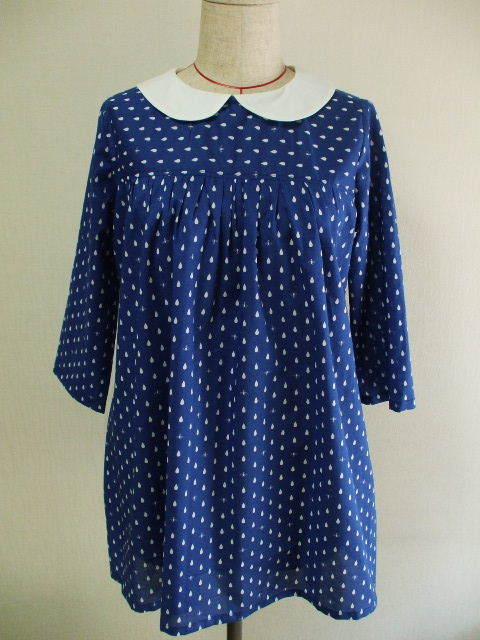 紺色地×しずく柄 丸衿8分丈袖チュニックブラウス M~Lサイズ 受注生産