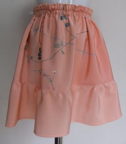 着物リメイク 縮緬の反物で作ったミニスカート 1355